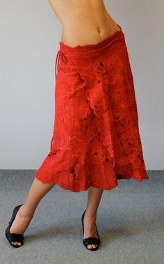 Red free size skirt cobweb felt Karmen by doseth on Etsy