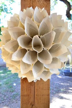 Book Page Wreath L by fiadesigns on Etsy, $25.00