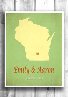 Personalized engagement gift Wedding sign State maps by Mapity