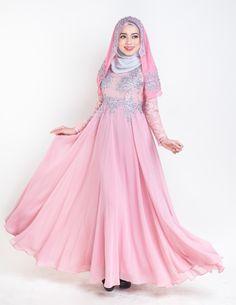 Malay Wedding Dress Dusty Pink #muslim wedding #malaywedding