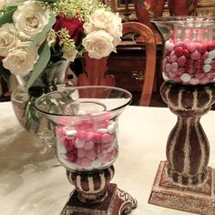 M & M's in Southern Living at Home hurricanes Living Willow, Willow House, Valentines For Daughter, Southern Living Homes, Home Collections, Seasonal Decor, Home And Living, Glass Vase, Candle Holders