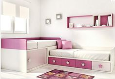 I like the two beds and storage idea for a two twin bedroom. different coloring and decor though