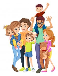 Family members with father and mother Free Vector Teen Girl Poses, Kid Poses, Family Vector, Human Icon, Indian Boy, Comic Poster, Beach Kids, Mother And Child, Character Illustration