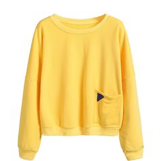 Yellow Dropped Shoulder Seam Patch Pocket Sweatshirt ($19) ❤ liked on Polyvore featuring tops, hoodies, sweatshirts, yellow, yellow top, cotton sweatshirts, yellow pullover, long sleeve tops and long sleeve cotton tops