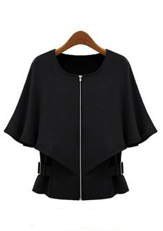 Abrigo capa cremallera mangas medias-Negro EUR€26.64
