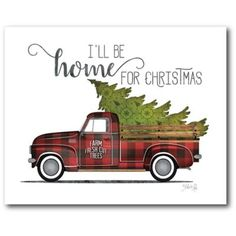 There's no better place to be than home this holiday and the Courtside Market Home for Christmas Canvas Wall Art is there to welcome everyone. Printed on gallery-wrapped canvas, this piece is warp-resistant and includes mounting hardware. Christmas Farm, Diy Christmas Garland, Christmas Canvas, Diy Christmas Gifts, Vintage Christmas, Christmas Decorations, Home For Christmas, Christmas Ideas, Christmas Red Truck