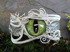 Gothic Steampunk Silver Evil Eye Bracelet in by twistedsisterarts,