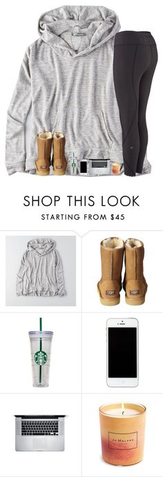 """raindrop droptop I be stressing bout school nonstop"" by hgw8503 ❤️ liked on Polyvore featuring American Eagle Outfitters, UGG Australia, WALL, Jo Malone and Kendra Scott"