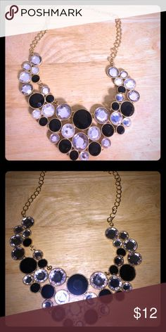 Statement necklace Black and clear stone statement necklace from Macy's. Never worn. Jewelry Necklaces