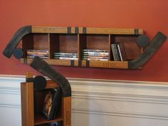 I'm sure I can make this Hockey CD/DVD/Game Shelf. Dvd Shelves, Wall Shelves, Shelf, Shelving, Boy Room, Kids Room, Hockey Decor, Hockey Crafts, Hockey Bedroom
