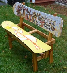 Recycled Snowboard Bench by maineskichairs on Etsy