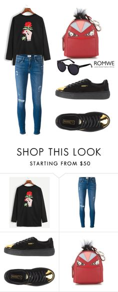 """""""ROMWE T-Shirt"""" by tania-alves ❤ liked on Polyvore featuring Frame Denim, Puma and Fendi"""