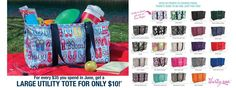 June 2013 Thirty One special!  When you spend $35 get any Large Utility Tote for ONLY $10! Fun flops available ONLY in June as well!