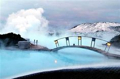 Blue lagoon geothermal spa in Iceland. Can you imagine? Ahhh....
