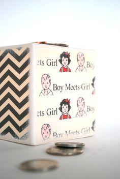Boy Meets Girl  Wood Bank  Piggy Bank by Mmim on Etsy, $13.00
