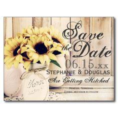 Rustic Sunflower Mason Jar Save the Date Postcards ** LOOKING for Wedding Matching Stationery Sets ?- PLEASE VISIT...  http://www.zazzle.com/weddinginvitationkit
