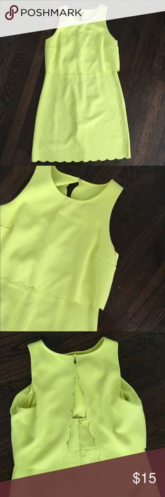 Loft scalloped dress Adorable neon lime/yellow dress from the loft! The scalloped details are really pretty! The open backs makes this dress, but I loved it because you can wear a regular bra, does not have to be strapless. Worn Twice. Great condition. Perfect for spring and summer LOFT Dresses Mini