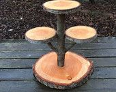 Large Log Doug Fir Wood Rustic Cake Cupcake Stand Wedding party shower wooden 4 tiered, lumberjack party, boho,wild things are, live edge