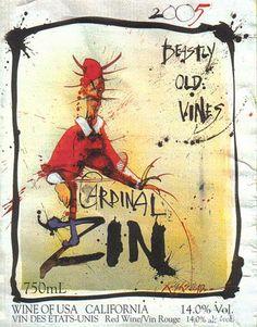 Ralph Steadman label for Cardinal Zin by Bonny Dune Winery