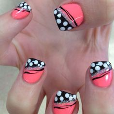 Pink black white and silver. Circles and tiger stripes cute cute beauty