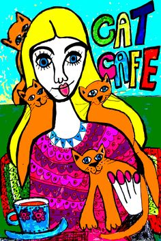 https://flic.kr/p/Q7c8uF | Girl with Pussy Cats n Cat Cafe Drawing by Sharron Wilcock