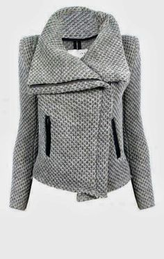 see more Fashionable Gray Comfy and Cozy  Asymmetric Jacket for Ladies  LOVE this neckline & weight of fabric