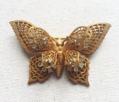 Vintage Miriam Haskell Butterfly Brooch by DanasLegacy on Etsy