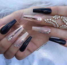 Unhas artísticas, unhas decoradas, unhas com pedras e adesivos de unhas 2018 Best Acrylic Nails, Acrylic Nail Designs, Nail Art Designs, Nails Design, Gorgeous Nails, Pretty Nails, Nagel Bling, Nagel Hacks, Luxury Nails