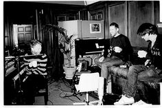 Recording session for In Rainbows (notice how cute Thom looks with his stripes and coffee mug)