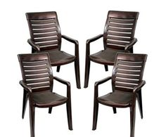 Buy Sonata Plastic High Back Chairs -Set of 4 (Brown colour) By Homegenic by undefined, on Paytm, Price: Rs.4960?utm_medium=pintrest