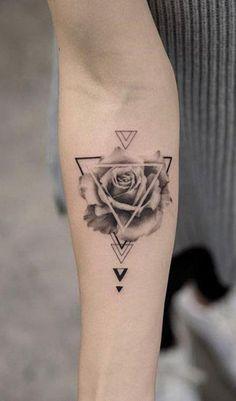 Unique Geometric Rose Forearm Tattoo Ideas for Women Trendy Floral Flower Arm Ta. - Unique Geometric Rose Forearm Tattoo Ideas for Women Trendy Floral Flower Arm Tattoo – www. Great Tattoos, Trendy Tattoos, Unique Tattoos, Body Art Tattoos, Sleeve Tattoos, Tattoo Women, Tattoo Designs For Women, Tattoos For Women Small, Small Tattoos
