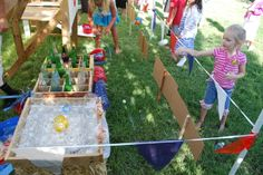 county fair party ideas  fishing activity station  ring toss station