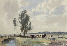 Edward Seago (1910 — 1974, UK) Cattle on the Marshes, Norfolk.  watercolour. 10.5 x 15 ins
