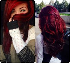 Trending Red Hair looks and Ideas with hair extensions bright red hair colors. Someday I'm gonna have red hair My Hairstyle, Pretty Hairstyles, Love Hair, Gorgeous Hair, Red Hair Looks, Bright Red Hair, Dark Skin Red Hair, Bright Red Highlights, Peekaboo Highlights