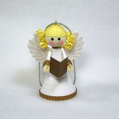 A Darling Paper Christmas Angel Ornament: Quilled in Bright Christmas White, Accented in Gold with Curly Blonde Hair