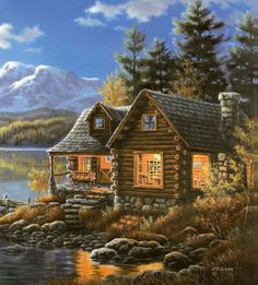 Cabin at lake by Judy Gibson Landscape Art, Landscape Paintings, Belle Image Nature, Cottage Art, Thomas Kinkade, Cabins And Cottages, Log Cabins, Country Art, Pictures To Paint