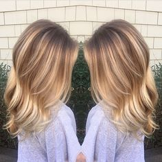 Natural rooty blonde blend.