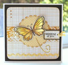 Yellow butterfly thinking of you card