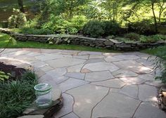 Irregular shape slate patio