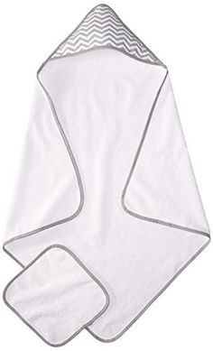American Baby Company Terry Hooded Towel Set Made with Organic Cotton, White with Gray Zigzag, for Boys and Girls Baby Towel, Towel Set, Organic Baby, Organic Cotton, Kids Hooded Towels, American Baby, Grey Trim, Baby Comforter, Baby Quotes