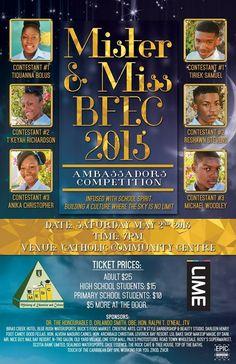Tonight MAY 2ND FROM 7PM | Mister & Miss BFEC 2015 AMBASSADORS COMPETITION @ Catholic Community Centre #VirginGorda #BVI