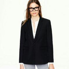 """SALE! Classic black wool blazer by J. Crew Classic boy blazer you can wear with anything.  Take a cue from Gwyneth and wear with a crisp button down,  jeans and loafers.  Or over an easy going dress for the office.  ;)  Shoulder- 15"""", chest-17.5"""", arm-20"""", chest-19"""" J. Crew Jackets & Coats Blazers"""
