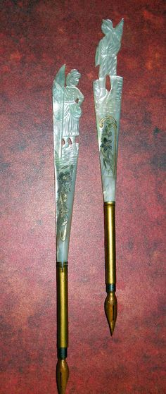 A pair of French Mother of Pearl Dip Pens with silver inlay._Judith Walker's Collection