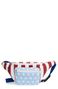This patriotic fanny pack is a cute place to store the essentials during the big 4th of July celebration.