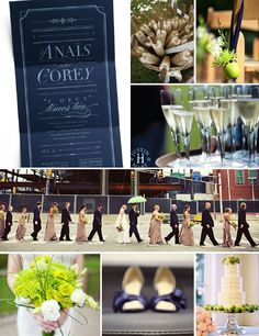 green and navy wedding colors - add some champagne and a neutral accent and you've got yourself a gorgeous wedding pallet!