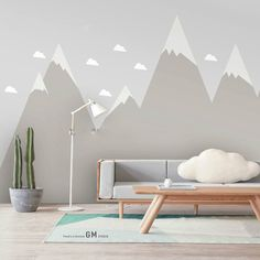 Hand Painted Grey Mountains Geometric Triangle Wallpaper Wall Mural, Light Grey Color Moutains and Cloud Nursery Kids Geometric Wall Mural