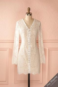 3f1ecf71c5 Guenièvre - White lace dress Rehearsal Dinner Dresses