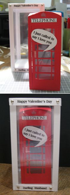 Valentine's Day Telephone Box by Maxine Simpson, using a card making template from Card Carousel. 3d Cards, Pop Up Cards, Valentine Day Cards, Happy Valentines Day, Card Making Templates, Say Love You, Display Boxes, Telephone, Carousel