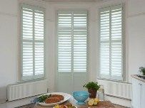 B&Q have partnered with the California Shutters to bring you shutters and blinds custom made and delivered directly to your home. Free swatch sample available. Bay Window Shutters, Kitchen Shutters, White Shutters, Diy Shutters, Wooden Shutters, Bay Windows, Perfect Fit Blinds, California Shutters, Interior And Exterior Angles