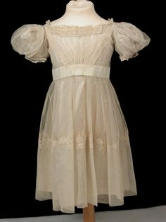 Silk and net child's dress 1830 Killerton Fashion Collection © National Trust Victorian Children's Clothing, Victorian Fashion, Vintage Fashion, Vintage Clothing, National Trust, Classic Outfits, Classic Clothes, Period Outfit, Cute Outfits For Kids